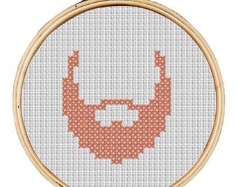 Hipster Ginger Beard Modern mini cross stitch pattern