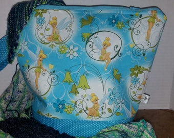 Large Zipper Project Bag, Tinker Bell / Fairy, Neverland, Peter Pan knitting Bag theme, Large Size, Shawl to Sweater Wedge, Tote Bag