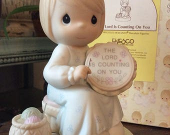 Vintage Enesco / 1993 PRECIOUS MOMENTS COLLECTION / The Lord Is Counting On You / Porcelain Figurine