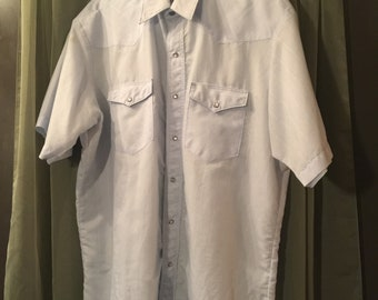 Wrangler Western Pearl Snap Shirt XL, Vintage, Short Sleeves, White With White Pinstripes, 80/20% Poly/Cotton, Summer Western Shirts For Men