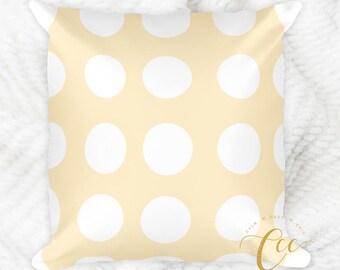 Pink White Polka Dot Pattern Pillow, Modern Decorative Pillow Cushion.