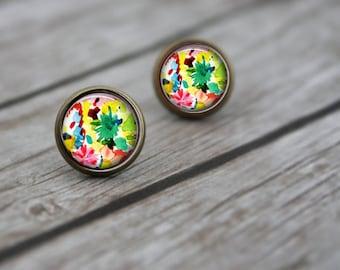 Flower Stud Earrings, Flower Earrings, Gift for Women, Tropical Earrings, Post Earrings, Gift for Her, Pretty Earrings, Dangle Earrings