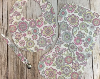 Baby Girl Gift Set - Purple Paisley Pink Floral - Contoured Burp Cloth, Bib, & Pacifier Clip - Baby Shower Gift - Baby Gift Set