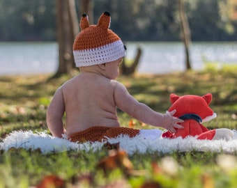Crochet Baby Fox Hat and Diaper Cover, Baby Photography Prop