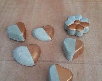Cement Decor, Cement, Concrete decor, Magnetic decor, cement heart, concrete flower,