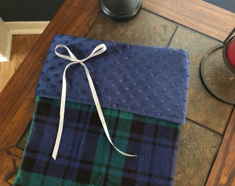 Blue and Green Plaid Minky Baby Blanket