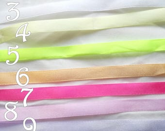 Satin Ribbon - 10 mm x 1 m - simple face - 11 colors - for wedding, decoration, customization, sewing, scrapbooking...