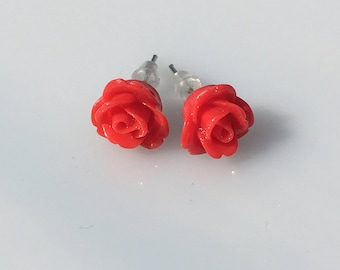 Boucles d'oreilles fleurs style rose rouge, bff, cadeau pour elle