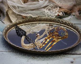 Vintage Romantic Gold tone MIRROR TRAY- Oval Shaped Mirrored Jewelry Organizer- Vanity Tray- Keepsake Display- G21