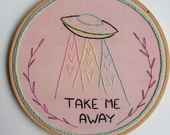 Take Me Away - Embroidery - Wall hanging - Hoop Art