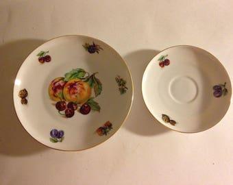 "TOSCPORT CZECH Fine China 7 1/4"" Salad Plate & Saucer Fruit Nuts Pattern"