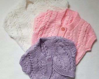 Hand Knitted Baby Cardigan With Lace Knit Detail, Shaped Front & Short Sleeves   Baby Gift   Hand Made   Baby Boy   Baby Girl