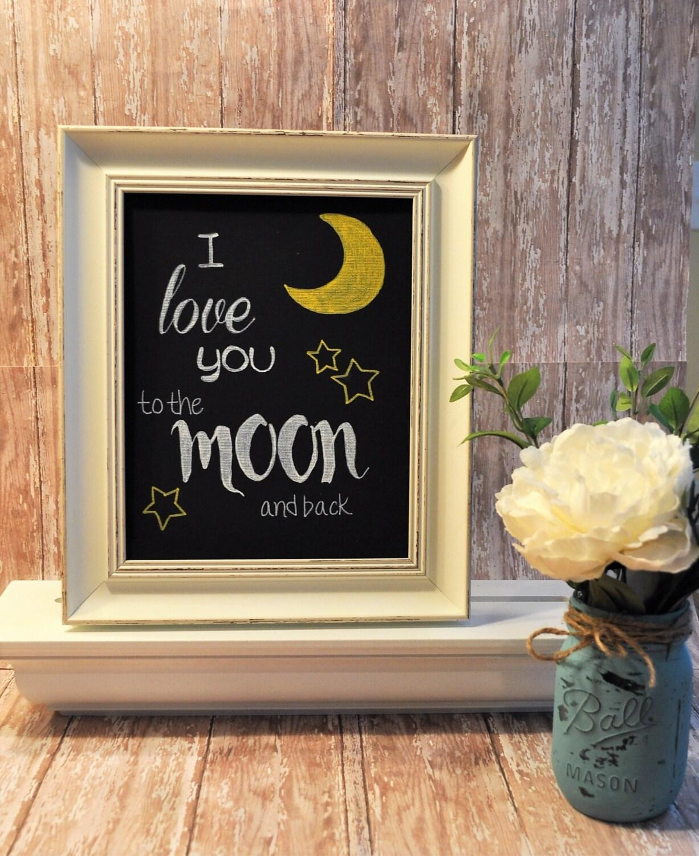 Amo a la luna de la mano signo pintado señal marco 8 x 10