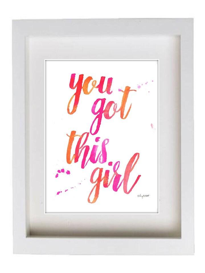 Du hast dieses Mädchen Aquarell-Wand-Kunst-Druck Rosa