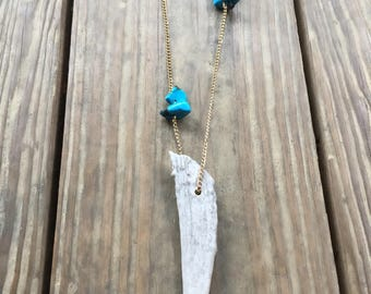 Turquoise Antler Tip Necklace | Antler Necklace | Turquoise Chain Necklace