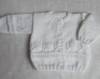 White buttons bow 3 months baby Cardigan knitted marietricotine