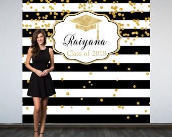 Graduation Personalized Photo Backdrop,Black and White Stripes Photo Backdrop, Class of 2018 Photo Backdrop, Photo Booth Backdrop