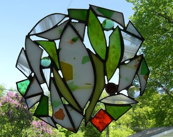 think summer, orange, green and white stained glass sun catcher home decor