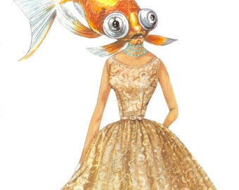 Mixed Media Original Collage Artwork, Goldfish Art, Fish Wall Art