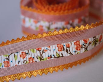 very pretty orange Ribbon flower with tulle