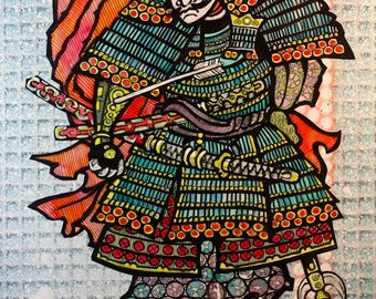 Samurai Fine Art Print Armor in Blue and Orange with Swords and Arrow. Inspired by Traditional Japanese Woodblock Prints