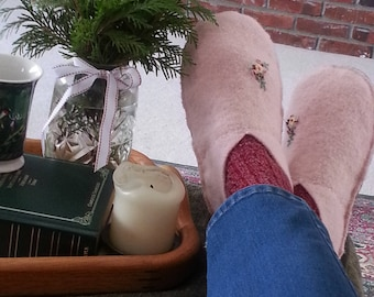 Wool Slippers Leather Sole Womens Medium Recycled Sweater Eco Friendly Birthday Gift for Her Felted Wool Ready to Ship Handmade Moccasins