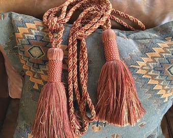 Vintage Curtain Tiebacks, Thick Long Silky Tassels, Curtain Tie Backs, Window Dressing
