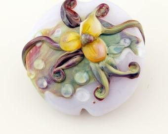 Lampwork Glass Bead,  Floral Lentil Focal, Lavender, Green, Blue, Purple, SRA
