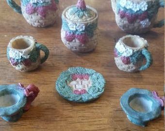 Miniature china tea set ceramic pitcher and mugs.Strawberry decor mini collectable