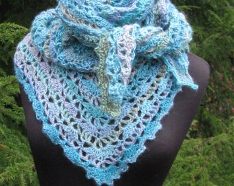 Blue Elise Virus Triangle Unforgettable Shawl with Picot Edging