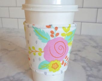 Reusable Coffee Sleeve-Spring Floral Print