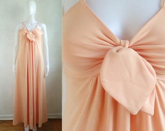 60s maxi day dress size xs, 1960s handmade dress mad men lightweight knit empire waist sleeveless dress pastel orange
