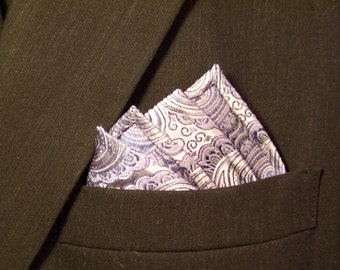 Blue Grey Mens Pocket Square, Pure Silk mens accessory, Woven Silk Paisley Square