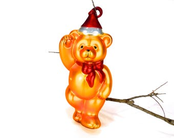 "VINTAGE: LARGE Teddy Bear Christmas Ornament, 10"", Christmas ornament - Mercury Bear Ornament, Bear - SKU Tub-407-00008876"