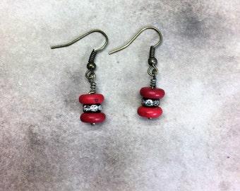 Red Boho Earrings Bohemian Rhinestone earrings brass howlite