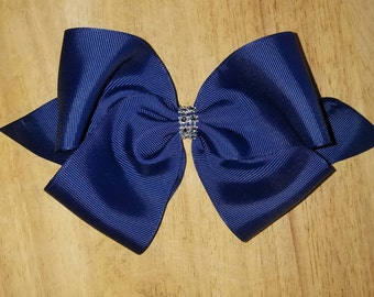 Large Navy Blue Hair Bows
