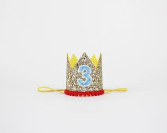 Circus Birthday Crown | 3rd Birthday Girl Outfit Clown Birthday | Carnival 3rd Birthday Outfit | 3rd Birthday Hat | Gold Yellow Red Blue