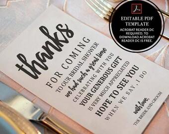 Bridal Shower, Template, 2 size, 4x6, 5x7, pdf, wedding thank you, thank you, thank you notes, thank you card set, wedding, thanks, D