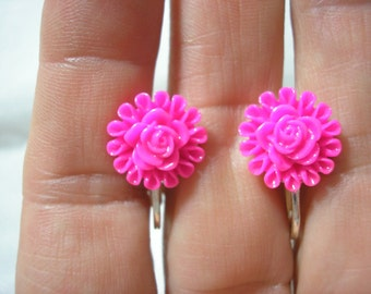 """Play Earring - Clip or Pierced - Flower - Bright Pink - 1/2"""""""