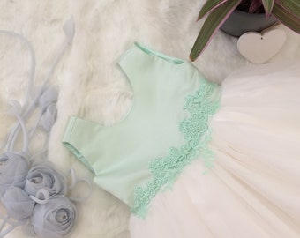 Hand Made Flower Girl Dress. Mint green and Ivory