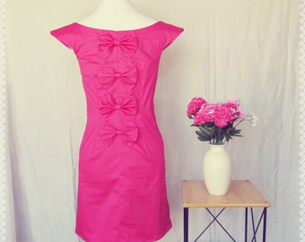 Pink Bow Back Beauty Sheath Dress - Bow Back Dress, Hot Pink Dress, Cocktail Dress, OOAK Dress in Size Medium