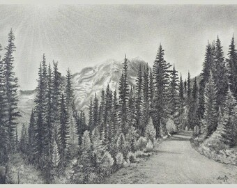 Road to Mount Rainier Pencil Drawing