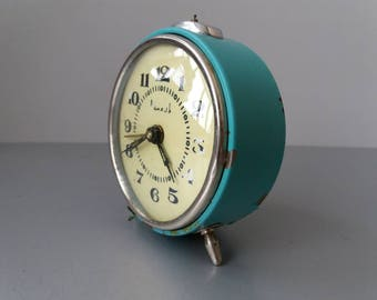 "Soviet Wind Up Alarm Clock Rustic Clock Vintage Desk Blue Alarm Clock ""Vityaz"" Working Vintage Clock Mechanical Alarm Clock Farmhouse Decor"