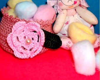 Tutorial PDF Cloth Rag Doll Lulu, Easy-to-follow. Crochet Basket for candies or Makeup remover.