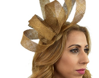 Metallic Gold Katelin Fascinator Hat for Kentucky Derby, Weddings and Christmas Parties with Headband