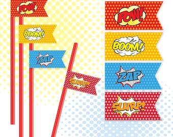 Superhero Straw Flags / Superhero Food Flags - Superhero Party / 4 Designs / PDF / INSTANT DOWNLOAD
