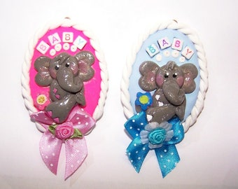 Elephant, Gray, African, Large Animal, Pachyderm, Dumbo, Circus, Pink, Blue, Grey, Ornament, Baby Shower, Free Shipping, Handmade, Accessory