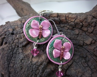 Butterfly Earrings, Pink Earrings, Polymer Clay Earrings, Butterfly Dangles, Swarovski Crystals, Green and Pink