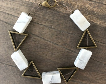 Rectangle Howlite stone bracelet