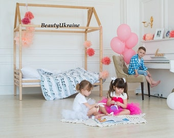 Toddler bed house bed ANY COLOR tent bed children bed wooden house wood house wood nursery kids teepee bed wood bed frame wood house bed